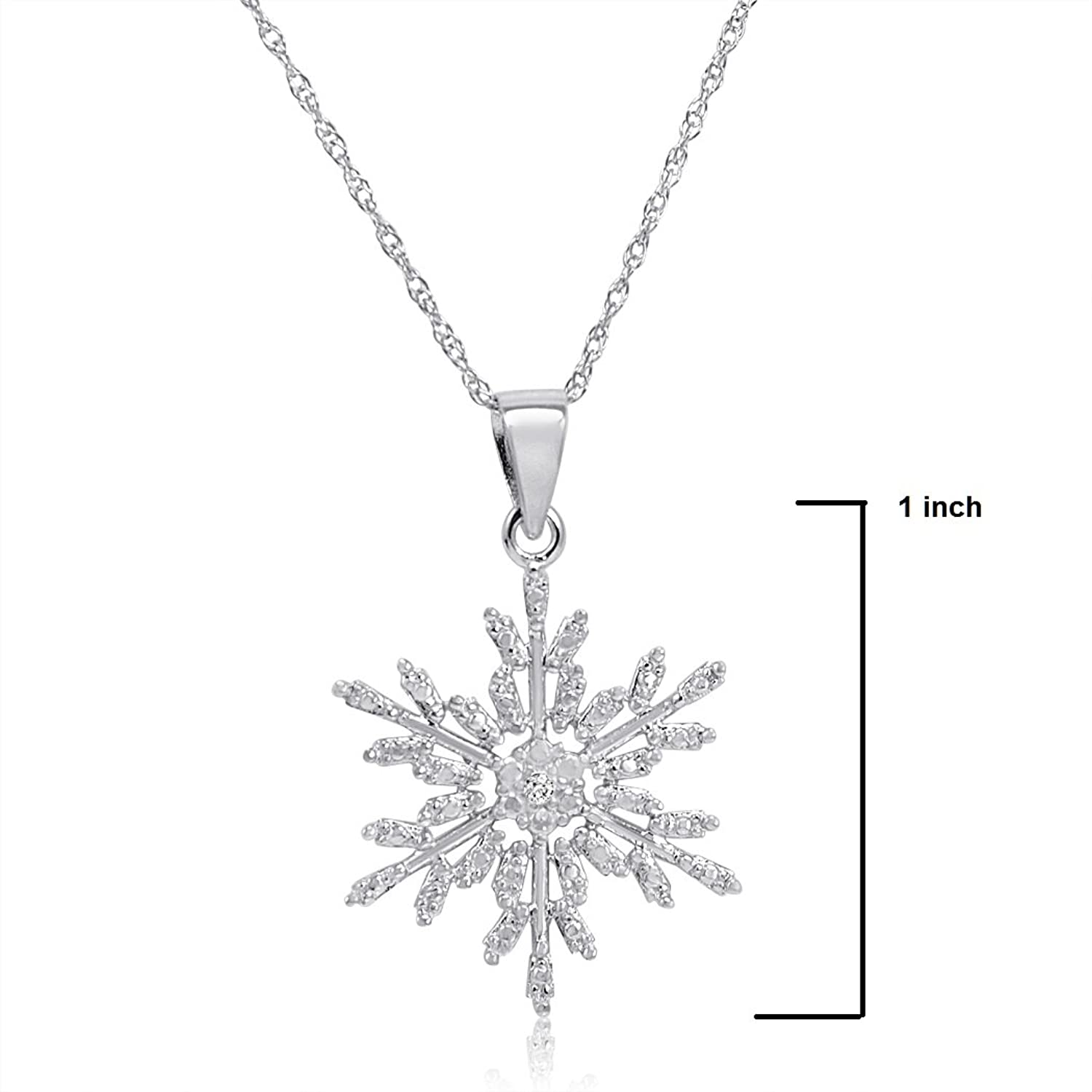 Amazon Diamond Accent Snowflake Pendant Necklace in Sterling
