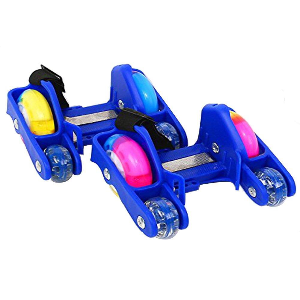TINTON LIFE New Upgrade 4 Wheels Kids Adjustable Flashing Heel Skates Rooller Shoes Easy-on Roller Skates(Black)