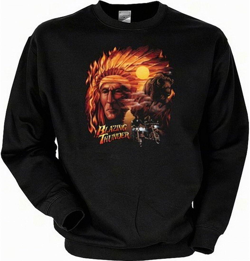 Blazing Thunder Sweatshirt mit Motiv USA Sweater Country Indianer mit B/üffel