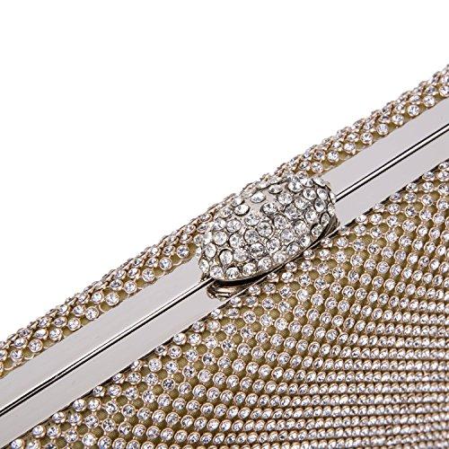 CLOCOLOR Bolso de mano con diamantes cristales brillantes cartera de mano con cadena metal larga estilo elegante bolso de fiesta para mujer, Dorado Dorado