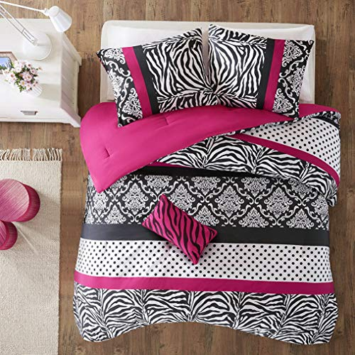 Kaputar Chic Pink Black Leopard Cheetah Medallion Zebra Polka DOTS Comforter Set | Model CMFRTRSTS - 1021 | Full