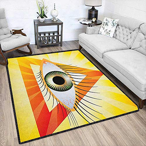 Euphoria Eyes - Eye Graceful Area Rug,Powerful Sight of All Seeing Eye Displayed in a Triangle with Yellow Sun Rays for Home Decorate Yellow Orange Green 79