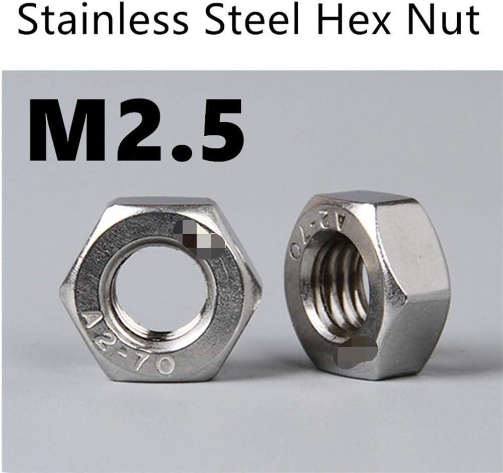 DINGGUANGHE-CUP Hex Nuts 100pcs//Lot Metric Thread DIN934 M2.5 304 Stainless Steel Hex Nut Hexagonal Nut Screw Nut A2-70 Machine Screw Nuts