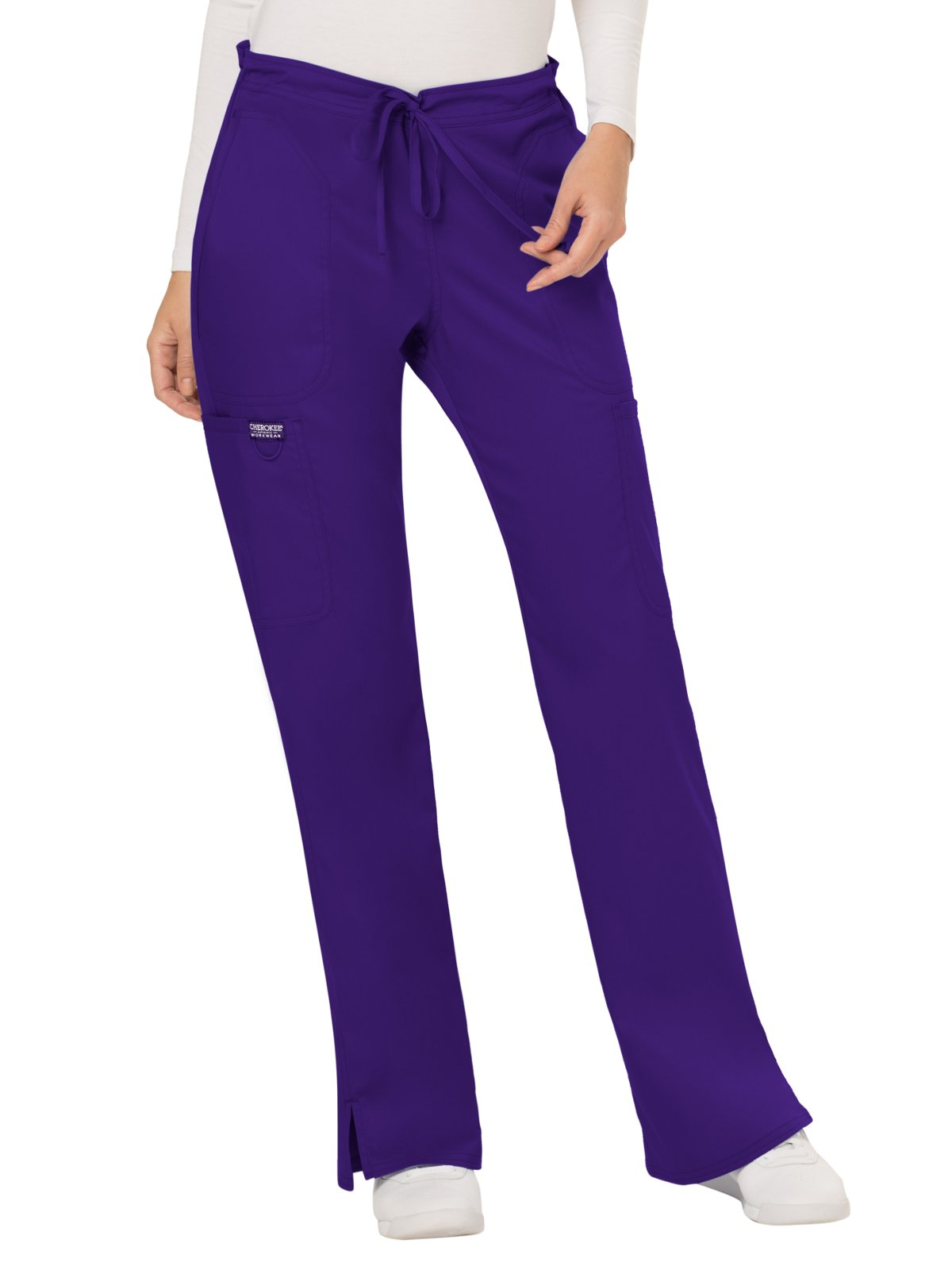 WW Revolution by Cherokee Women's Mid Rise Moderate Flare Drawstring Pant Tall, Grape, XX-Large Tall
