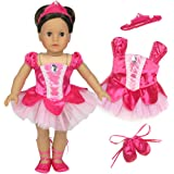 18 Inch Doll Ballet Costume 3 Pc. Doll Clothes Set by Sophia's, Fits 18 Inch American Girl Dolls & More! Classic Fuchsia Prima Ballerina Outfit, Hair Piece & Ballet Slippers