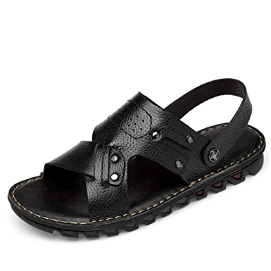 a2c20fd6f MUMUWU Men s Ankle Strap Sandals Outdoor Open Toe Slipper Slip On Style  Genuine Leather Outdoor Sports