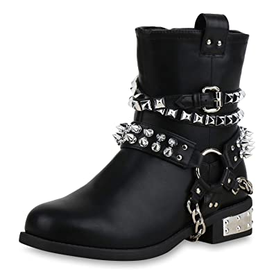 Damen Schuhe Stiefel Stiefeletten Boots schwarz Perlen