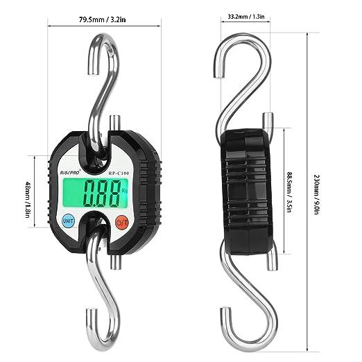 Bascula de gancho, bascula digital de RISEPRO con grúa de bolsillo para equipaje de pesca, 150 KG RP-C100: Amazon.es: Equipaje
