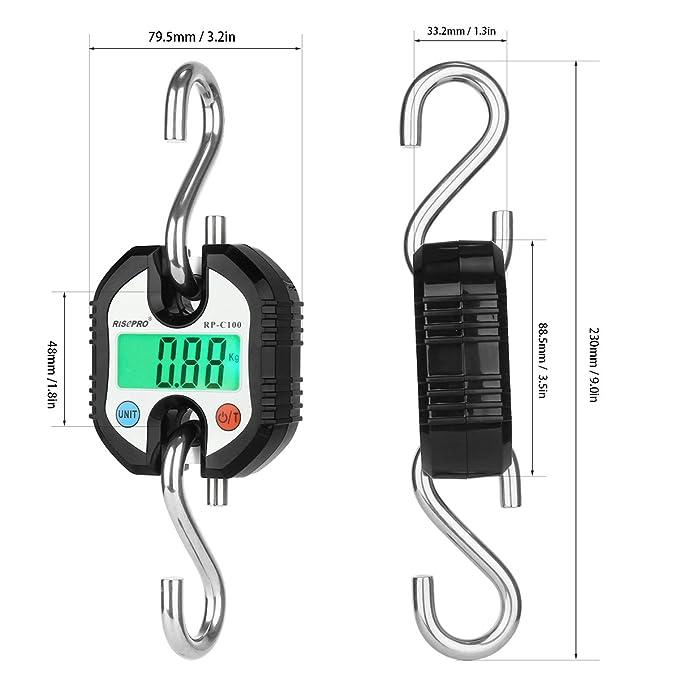 Bascula de gancho, bascula digital de RISEPRO con grúa de bolsillo para equipaje de pesca, 150 KG RP-C100