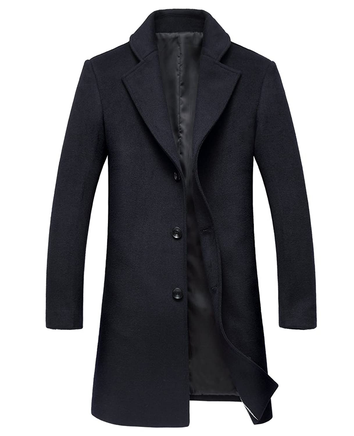 SK Studio Men's Winter Warm Soft Wool Blend Pea Coats Slim Fit