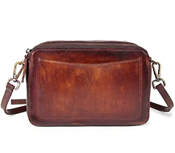fa4022535ce0d SHFANG Dame Vintage Leder Handtasche   Schultertasche   Kopf Schicht  Rindleder Reine manuelle Umhängetasche   schrägen