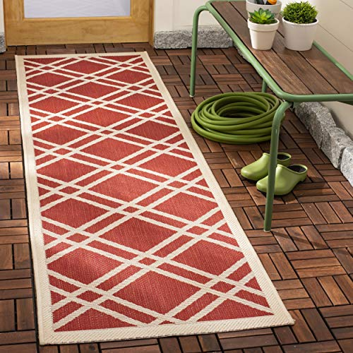 Safavieh Courtyard Collection CY6923-248 Red and Bone Indoor/ Outdoor Runner (2'3