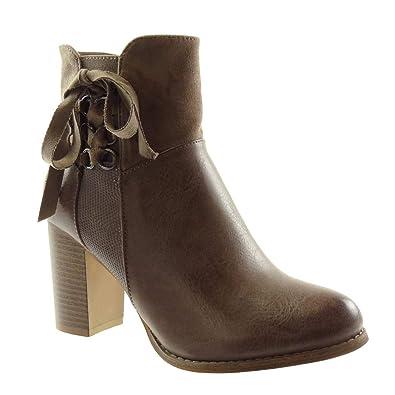Angkorly - Zapatillas Moda Botines Chelsea Boots Bimaterial Mujer Nodo con Detalle de aro Piel de Serpiente Tacón Ancho Alto 8 CM Forrada de Piel: ...