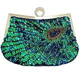Baglamor Women Full Shining Sequins Beaded Rhinestone Peacock Embroidery Clutch Purse Handbag Evening Bag (Blue)
