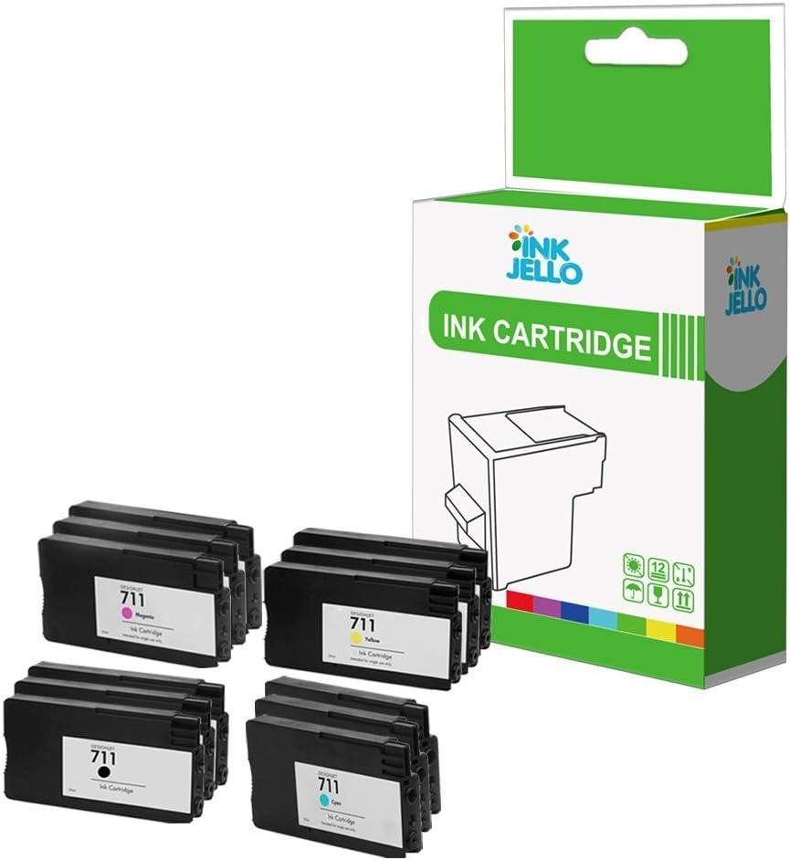 InkJello - Cartucho de tinta de repuesto para HP Designjet T120 T520 ePrinter 711 (negro, cian, magenta, amarillo, 12 unidades): Amazon.es: Electrónica