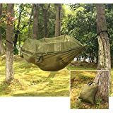 Carryon Hammock ,Mosquito Net Nylon Fabric Travel Portable Camping Hammock (Armygreen)