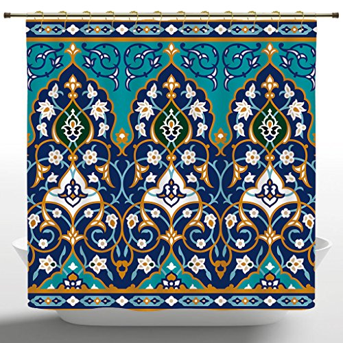 Popular Shower Curtain by iPrint,Moroccan,Ottoman Folkloric Art Inspired Abstract Aged Middle Age Renaissance Artful Print,Navy Blue,Polyester Fabric Bathroom Decor Set with Hooks