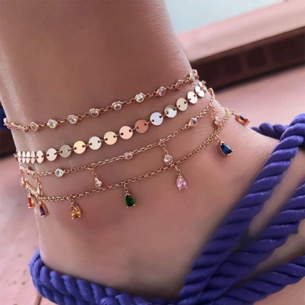 Adflyco Tassel Anklets Set Gold Rhinestones Anklet Bracelets Beach Sequins Foot Jewelry Adjustable for Women and Girls (4Pcs)
