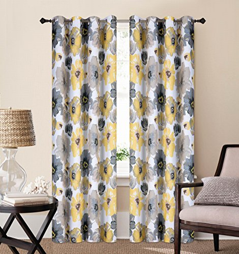 EliteHomeProducts 2 Piece Luxury Floral Blackout Window Curtain Panel (Set of 2), 52″ x 84″, Yellow/Gray