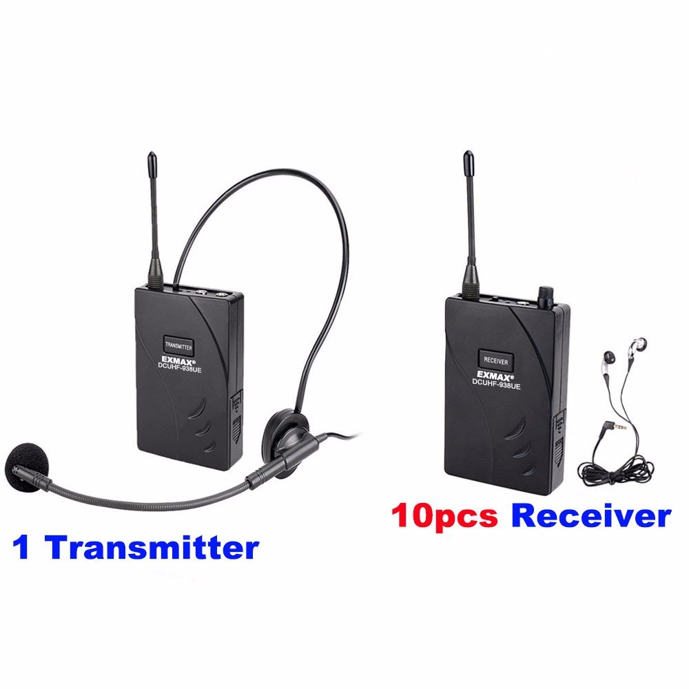 EXMAX DCUHF-938UE Wireless Headset Microphone Audio Tour Guide System 432.5-434MHz Dual/Two Optional UHF Channels for Tour Guiding Church Teaching Travel Interpretation.(1 Transmitter 10 Receivers) by EXMAX