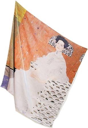 TALLA 110 cm X 110 cm. prettystern - 110cm de gran tamaño satén de seda crepé pesado (16 mm de espesor) de tela de seda handroulier Nouveau - Gustav Klimt