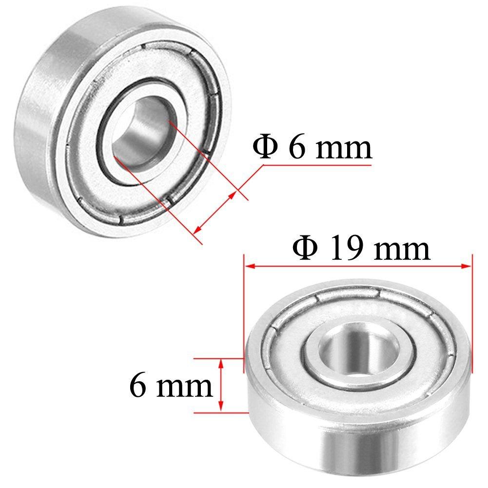 626Z 6mm x 19mm x 6mm Shielded Radial Miniatur-Rillenkugellager 5 Stueck A4P8