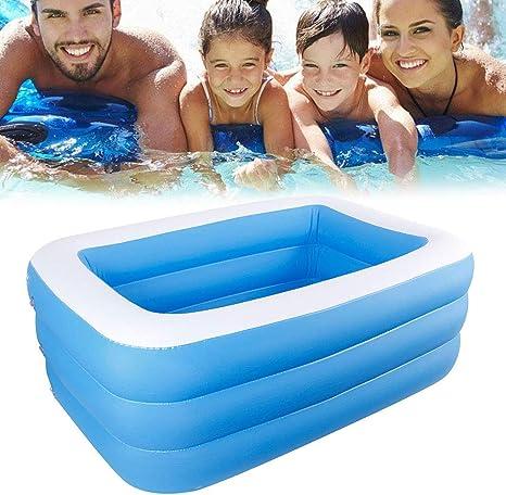 Piscina hinchable de Iraza, piscina familiar rectangular para bebés, niños, jóvenes y adultos, para jardín y exteriores, resistente al desgaste, ...