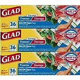 Glad - Bolsas de almacenamiento para alimentos y congelador, 2 en 1, Galón, 3 Pack (36 Count)