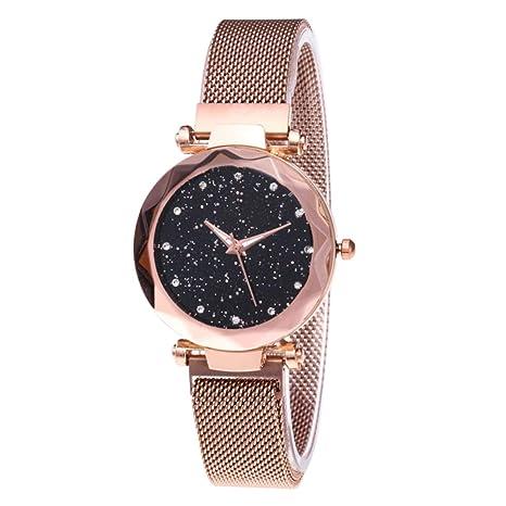 BEAYPINE Correa de Metal Cristal Azul Luz de Las Estrellas Cara del dial Mujer Moda Relojes