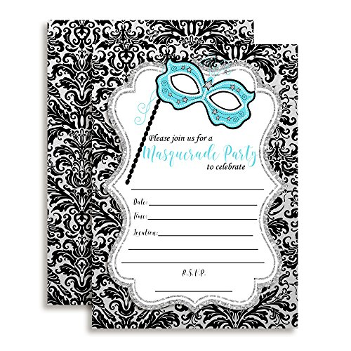 (Amanda Creation Masquerade Black, Silver and Teal Party Fill in Party Invitations, Set of 20 Including)