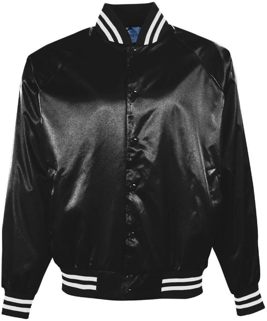 Augusta Sportswear メンズサテン野球ジャケット/ストライプ柄。 B0776R9Y2M XS|ブラック/ホワイト ブラック/ホワイト XS