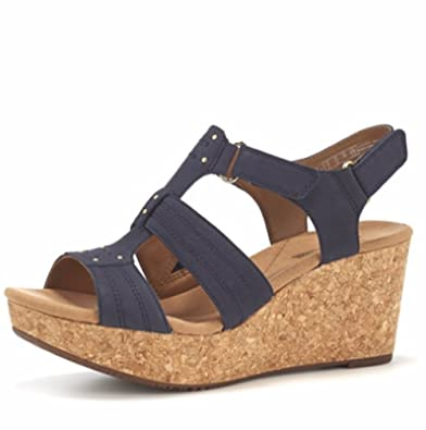 f9cb089fc2e Clarks Annadel Orchid Cushion Soft Wedge Sandal Wide Fit - Navy Nubuck - UK  6