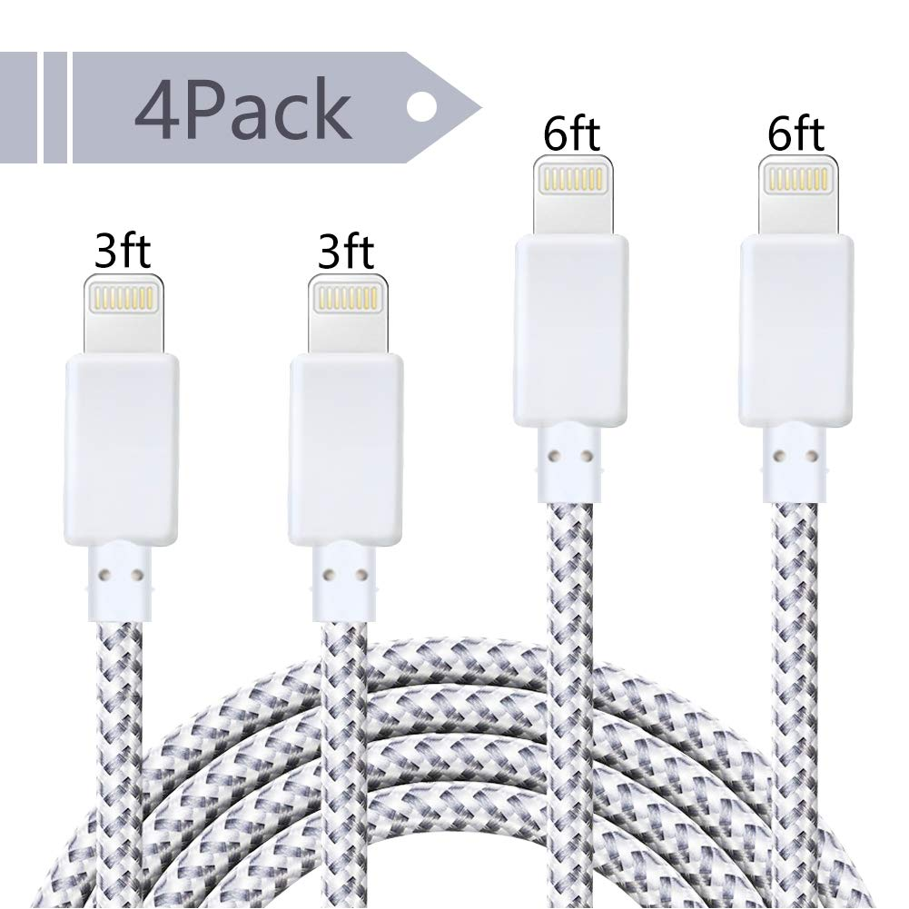 W&O Charger Cable 4 Pack (6Ft, 10Ft, Nylon Braided USB Charger Cord Compatible iPhone (X/8/Plus/7/Plus/6/6S/5/5S/Se) iPod Nano Airpods Ipad Fast Charging Data Syncing (Black) W&O-XIAOXINGSHIDAI WO-2233-SL