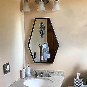 MBQQ Modern Metal Wall Mirror L19.7 x H27.5 Stretching Hexagon Bathroom Frame Mirrors,Wall-Mounted Dresser Home Decor,Frame Hanging Wall Mirror,Vanity Mirror,Makeup Mirror,Black