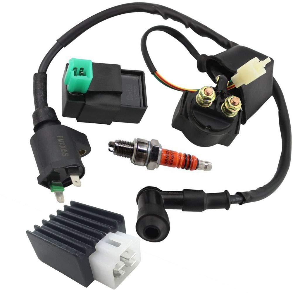 Ignition Coil Solenoid Relay Voltage Regulator 5-PIN CDI Box Spark Plug for 50cc 70cc 90cc 110cc 125cc ATV Go Kart Dirt Bike Pit Bike by TOPEMAI