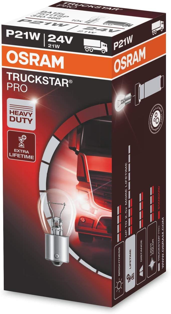 Osram 7511 - Truckstar PRO, 10x Caja de luces incandescente para Coche LKW LKW-Lampe Glühlampe LTS TSP, P21W, 24V, 21W, BA15s