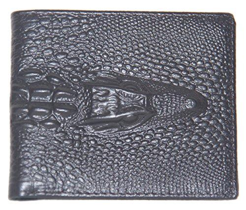 Chocolate Crocodile Faux Leather (Men's Chocolate Alligator Head Crocodile Print Wallet Genuine Tooled Leather Caimán Gator Ships From Texas)