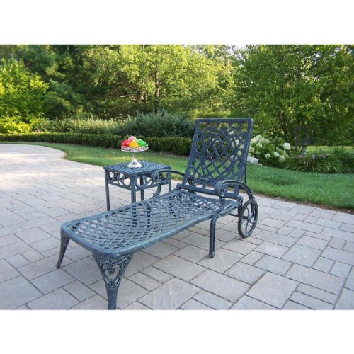 Oakland Living Mississippi Cast Aluminum Chaise Lounge with Cushion