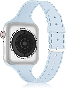 YAXIN Compatible with Apple Watch Band 38mm 40mm Narrow Slim iWatch Bands Thin Sport Soft Silicone Wristband Strap Compatible for iWatch Series 6 5 4 3 2 1 SE Women,Light Blue