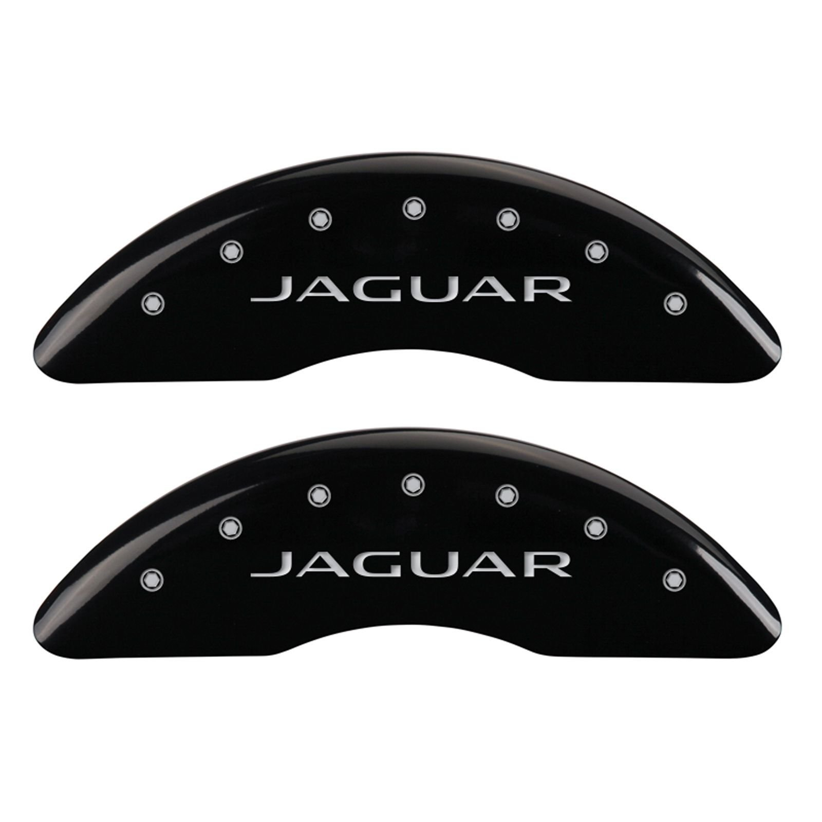 MGP Caliper Covers 41003SJALBK Caliper Cover (Black Powder Coat Finish, Engraved Front: Jaguar - Engraved Rear: Leaper/2012, Silver Characters, Set of 4) by MGP Caliper Covers