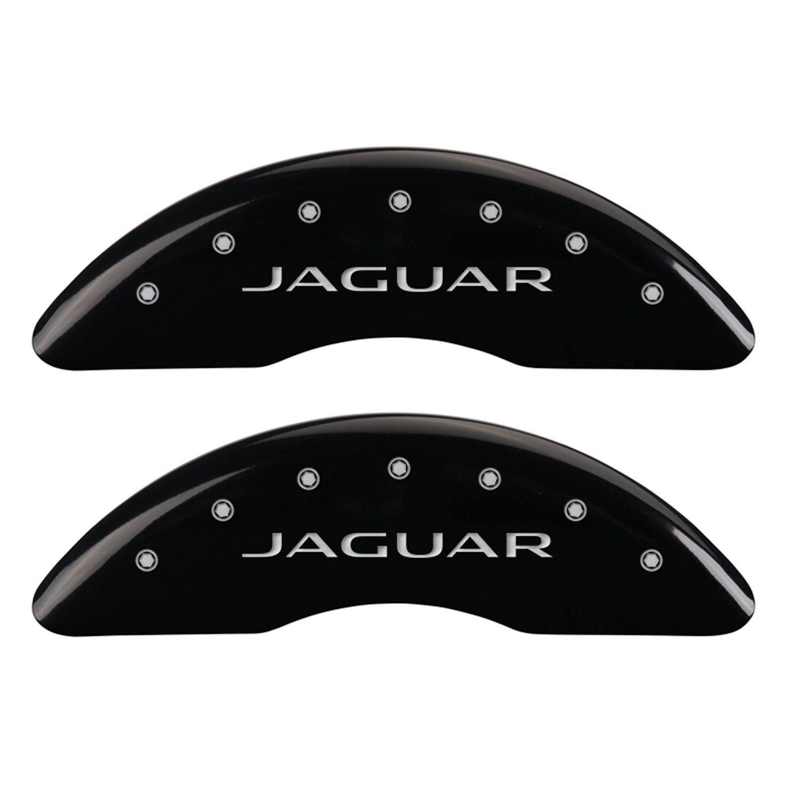 MGP Caliper Covers 41003SJALBK Caliper Cover (Black Powder Coat Finish, Engraved Front: Jaguar - Engraved Rear: Leaper/2012, Silver Characters, Set of 4)