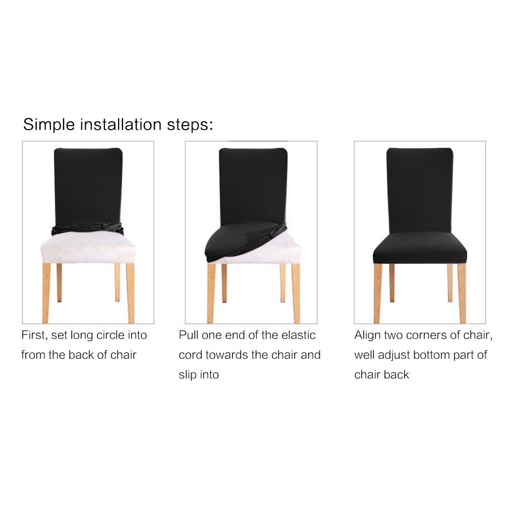 YISUN Universal Stretch Stuhlhussen 4er 6er Set Stuhlbezug für Stuhl Stuhl Stuhl Dunkelgrau B07F7PM1ZC Hussen 751f60