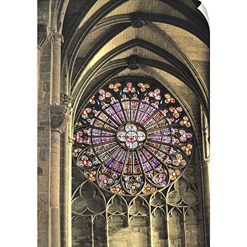 CANVAS ON DEMAND France, Glass in The Rose Windows in The Basilica of St-Nazaire in Carcassonne Wall Peel Art Pr. (Best Walled Cities In Europe)