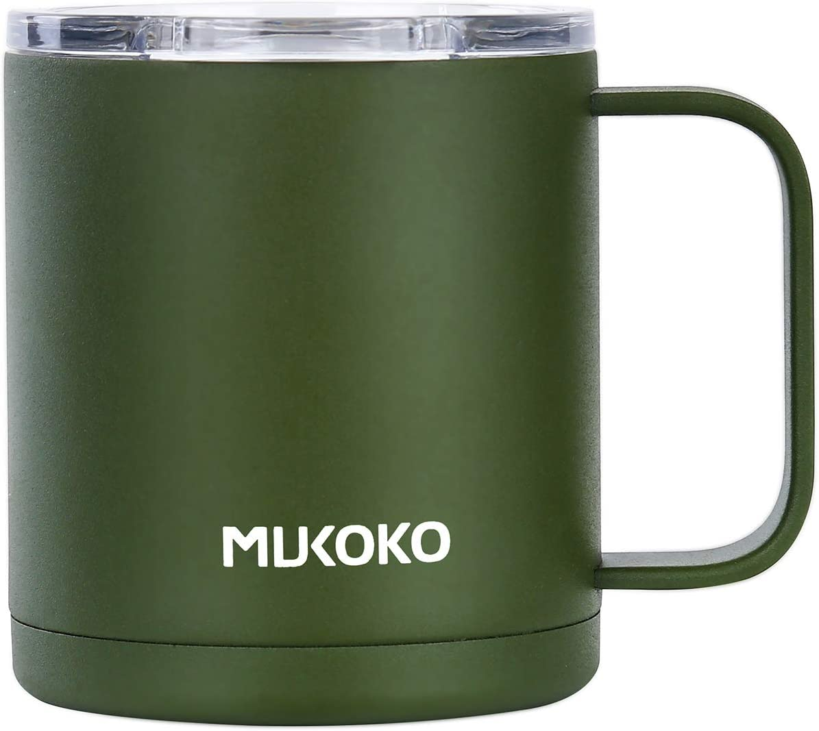 Insulated Coffee Mug With Lid and Handle,12 oz Double Wall Vacuum Sealed Camp Cup-For Hot or Cold Army Green