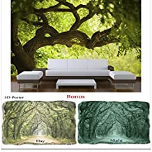 Wallpaper Startonight Nature Wall Mural Tree on the Green Landscape Bundle Bonus Gift 3D Poster Green Trees (8 feet 4 inch By 12 feet/366 x 256 cm)