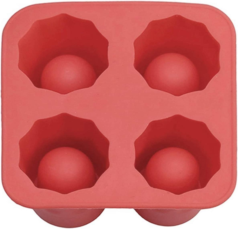 AFTWLKJ 4 taza de taza de silicona hielo cubo cubo tiradores de vidrio vidrio moho de hielo hielo cubo bandeja verano barra fiesta cerveza hielo bebida herramienta accesorios ( Color : Red )