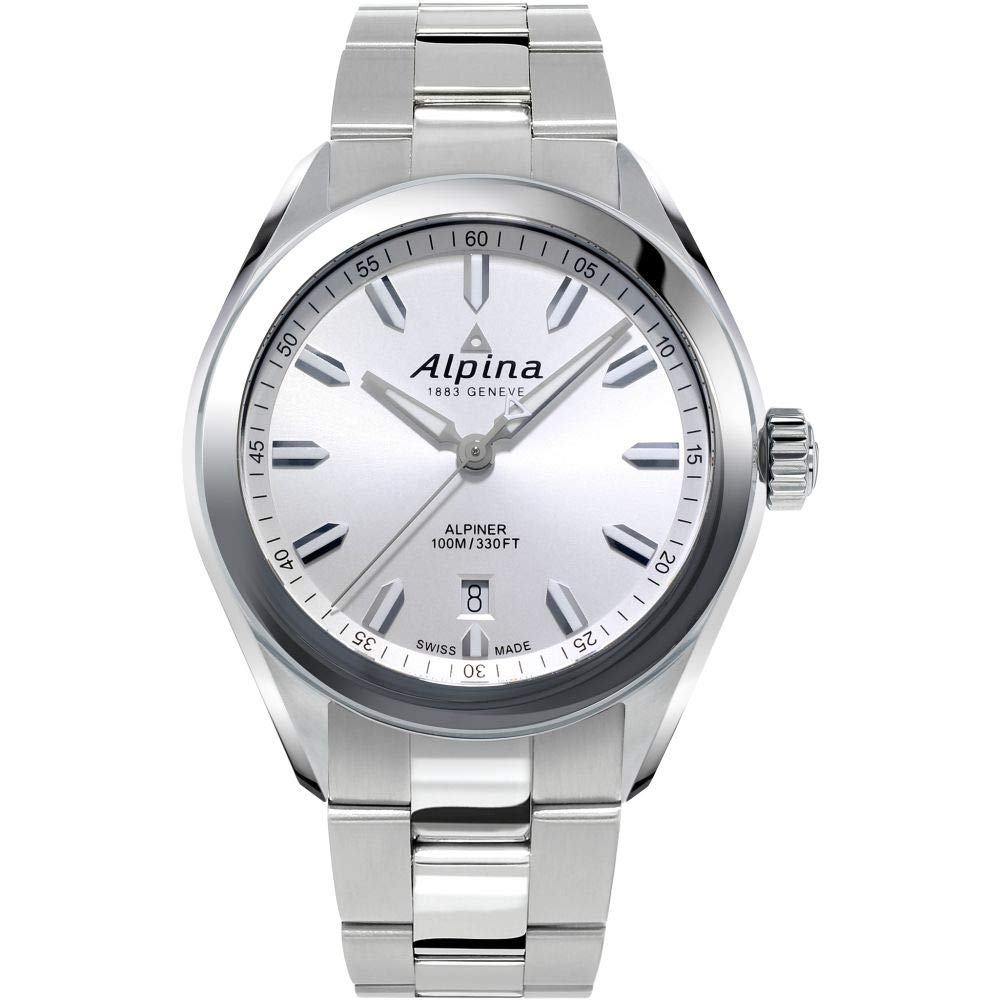 Image of Alpina Men's Alpiner Swiss Quartz Sport Watch with Stainless Steel Strap, Silver, 21 (Model: AL-240SS4E6B) Sport Watches
