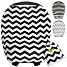 Baby Car Seat Cover Canopy | Stretchy Breastfeeding Cover | Multi-Use all in 1 Infinity Nursing Scarf | Grocery Shopping Cart Covers | (Black&White Chevron) Best Unisex Baby Shower Gift