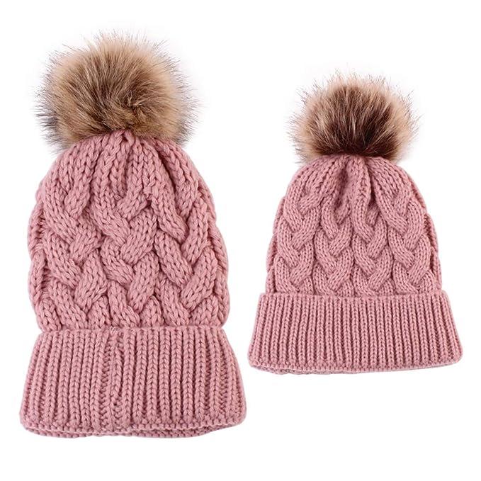 cbaabd15897 Damen Winter mütze Bommelmütze Frauen mütze mit Bommel Damen Strickmütze  Slouch Beanie mütze Baby Jungen hüte