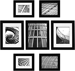 Gallery Perfect 7 Piece Black Photo Frame Gallery Wall Kit with Decorative Art Prints & Hanging Template